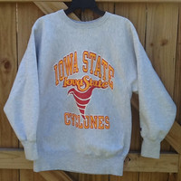 Vintage collectible Iowa State Cyclones gray sweatshirt. Size XL, Champion Reverse Weave. Fun retro look and very soft, comfortable material