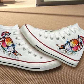 DCCK1IN hand painted unique bird design converse shoes