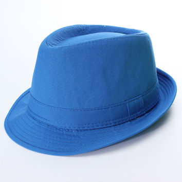 Men Women Fluorescent Jazz Hat Neon Panama Fedora Trilby Cowboy Cap Sun Beach Hat