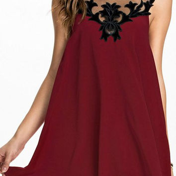 Red Sleeveless Mesh Backless Dress