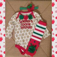Santa's Cookie Taster - Baby GIRL Christmas Outfit - Onesuit, Headband,  Leg warmers - Christmas Photos - Baby girl