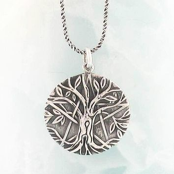Antiqued Tree of Life Pentacle Necklace in Sterling Silver