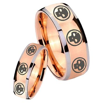 His Hers Rose Gold Dome Multiple Skull Two Tone Tungsten Wedding Rings Set