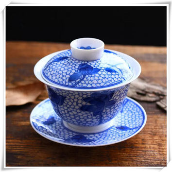 Chinese Teacup and Saucer, Hand Painted Porcelain Gaiwan