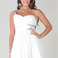 one shoulder dress with stone trim and ruched bodice