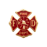 Fire Department Gold Floating Charm
