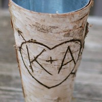 Personalized Birch Wood Vase Farmhouse Cottage by braggingbags