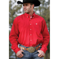 Cinch Red Pinpoint Long Sleeve Shirt