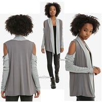 Licensed cool Disney Star Wars: The Last Jedi REY Open Cardigan Cold Shoulder Her Universe NWT