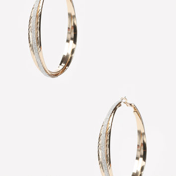 bebe Womens Glitter Hoop Earrings Gold