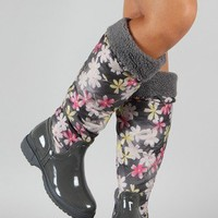Malak-2 Floral Knee High Rain Boot