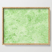 Greenery and white swirls doodles Serving Tray by savousepate