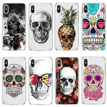 Skull Cover Soft TPU for iPhone 4 4S 5 5S SE 5C 6 S 7 8 Plus For iPhone 7plus 8plus Case For iPhone X Coque case TPU