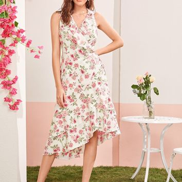 Floral Ruffle Layered Trim Asymmetrical Wrap Knotted Dress