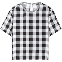 Equipment Logan gingham washed-silk top – 60% at THE OUTNET.COM