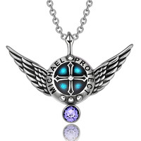 Archangel Michael Angel Wings Protection Shield Magic Power Charm Purple Crystal Pendant 22 inch Necklace