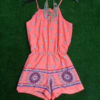 SUMMER CRUSIN' ROMPER IN NEON CORAL