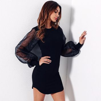 Solid Color Simple Fashion Stitching Perspective Gauze Puff Long Sleeve Bodycon Mini Dress