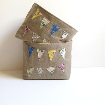 Bunting Basket Vintage Feedsack Fabric - Medium Rustic Feed Sack Banner Storage Bin - Burlap Bucket - Burlap Home Decor