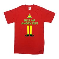 Funny Christmas T Shirt Movie TShirt Buddy The Elf Clothing Xmas Clothes Holiday Gift Elf Quotes He's An Angry Elf Mens Ladies Tee - SA705