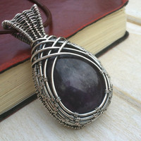Amethyst Pendant - Wire Wrapped Jewellery Handmade - Gemstone Jewellery -  Wire Wrapped Necklace - Purple Necklace