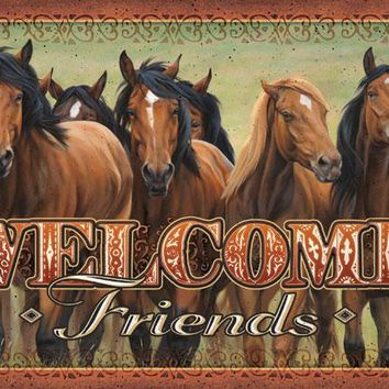 Welcome Friends Horse Door Mat