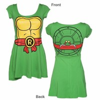 Ladies Green Teenage Mutant Ninja Turtles Raphael Skater Dress From Mighty Fine : TruffleShuffle.com