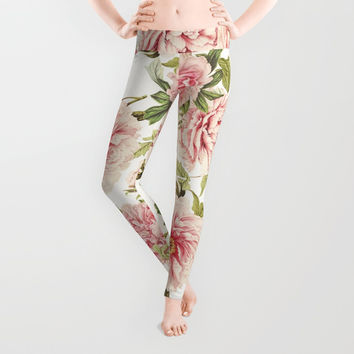 old fashioned peonies Leggings by Sylvia Cook Photography