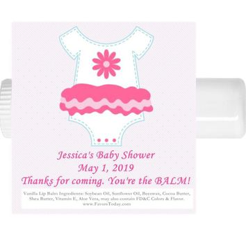 15 Girl Pink Onesuit Baby Shower Lip Balm Favors