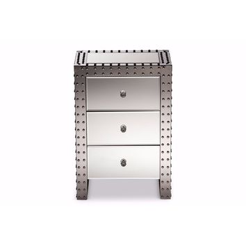Azura Modern And Hollywood Regency Glamour Style Nightstand Bedside Table By Baxton Studio
