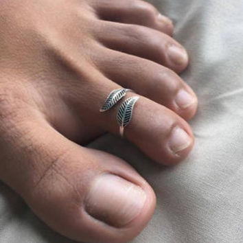 925 Sterling Silver Tribal Bohemian Design Sexy Adjustable Beach Toe Ring Boho