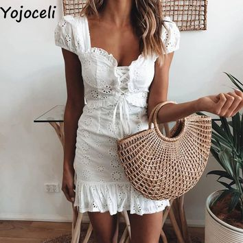 Yojoceli Elegant lace floral ruffle dress women Summer lace up short daily dress female Sexy mini party beach dress vestidos