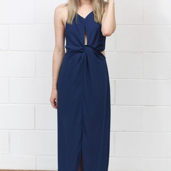 Knotted Front + Side Cut Out Maxi Dress {Navy}