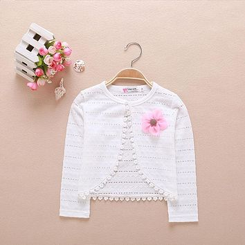 2017 Baby Girls Cardigan Sweater Outerwear 100% Cotton White Baby Girl Jacket For 1 Year Old Baby Girls Clothes AKC165009