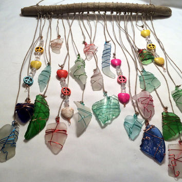 Crystal Sun Catcher Sea Glass Mobile Peace Love Hearts Hanging Driftwood Beach Glass Art Gypsy Style Beach Art Eco Friendly Lake Erie