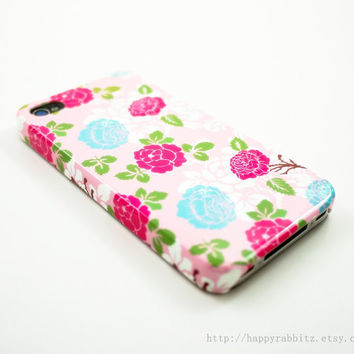 Vintage Blue Pink Rose Flower iPhone 5 Case, iPhone 5 Cover, Hard iPhone 5 Case