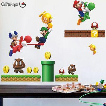 Old Passenger _ new pvc Super Mario Bros Wall Sticker Home Decor For Kids Room baby bedroom stickers muraux games free mario