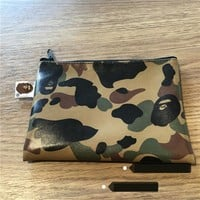 SUPREME New printing yellow 1ST CAMO camouflage leather zipper wallet 2 color