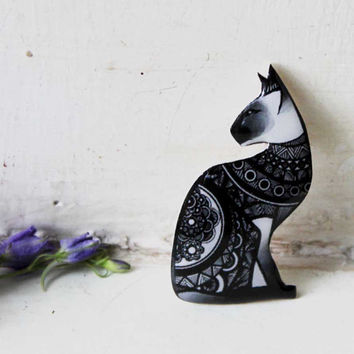 Free shipping Black Cat Sphinx brooch pin Sphinx cat Sphinx jewelry Animal brooch cat pin cat jewelry clay cat  (0103)