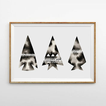 Print of Watercolor Original . Arrows Painting . Geometric Art . Black . White . Monochrome . Graphic Artwork