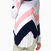 Pink Navy Chevron Long Sleeve Maternity Top