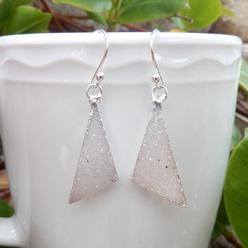 White Druzy Triangle Earrings Silver Crystal Quartz Drusy - Free Shipping Jewelry
