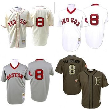 GREY white Cream 1967 Throwback Carl Yastrzemski Authentic Jersey , Men's #8 Mitchell And Ness Boston Red Sox