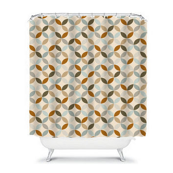 Circle Shower Curtain Monogram Pattern Earth Tones Beige Tan Bathroom Bath Polyester Made in the USA