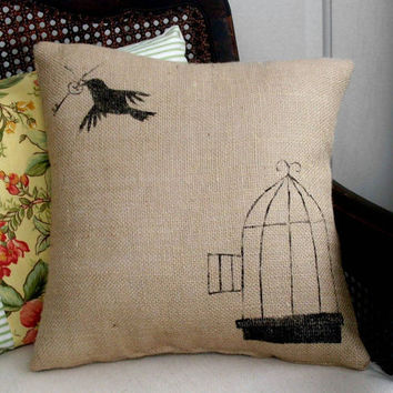Free to Fly Burlap Feed Sack Pillow by nextdoortoheaven on Etsy