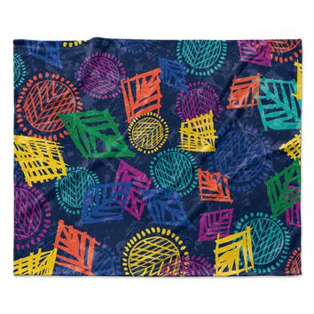 "Emine Ortega ""African Beat Blue"" Fleece Throw Blanket"