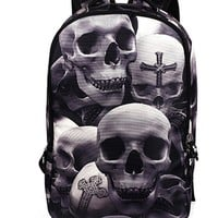 Vintage 3D Cartoon Printing Backpack Street Punk Rock Skull