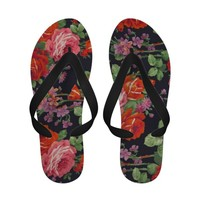 Pink red purple Roses vintage pattern Sandals