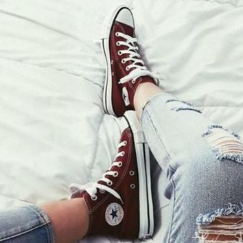"""""""Converse"""" Fashion Canvas Flats Sneakers Sport Shoes High tops Wine red"""