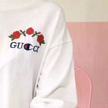 Gucci Fashion Casual Short Sleeve Sexy Embroider Tee Top
